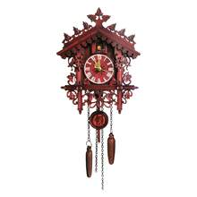 Cuckoo Clock Living Room Wall Clock Black Forest Wooden Hand-Carved Clock Bird Cuckoo Alarm Clock Watch Home Day Time Alarm(China)