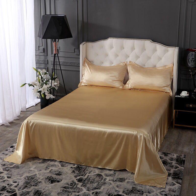 4 Piece Satin Silky Bed Sheet Set Full Queen King Super Soft Deep Pocket Golden