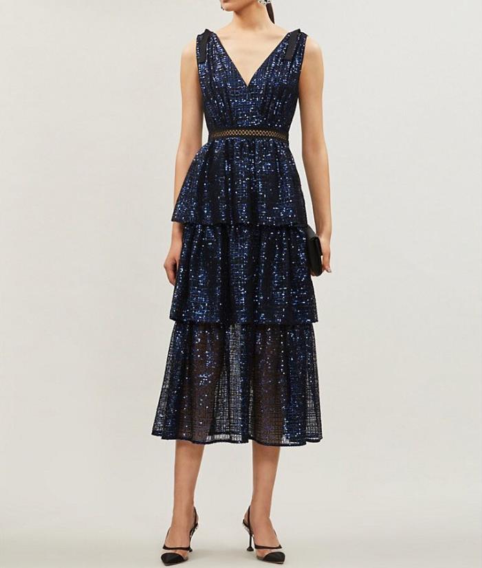 2019 automne nouvelle arrivée bleu marine élégant profond V sequin miid robe de haute qualité