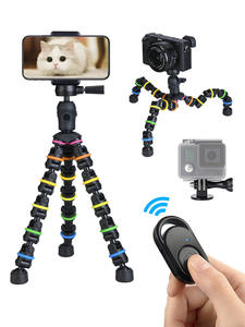 Tripod Stand for Phone with Mobile phone Holder Gopro Mount, Mini flexible Desk Tripod