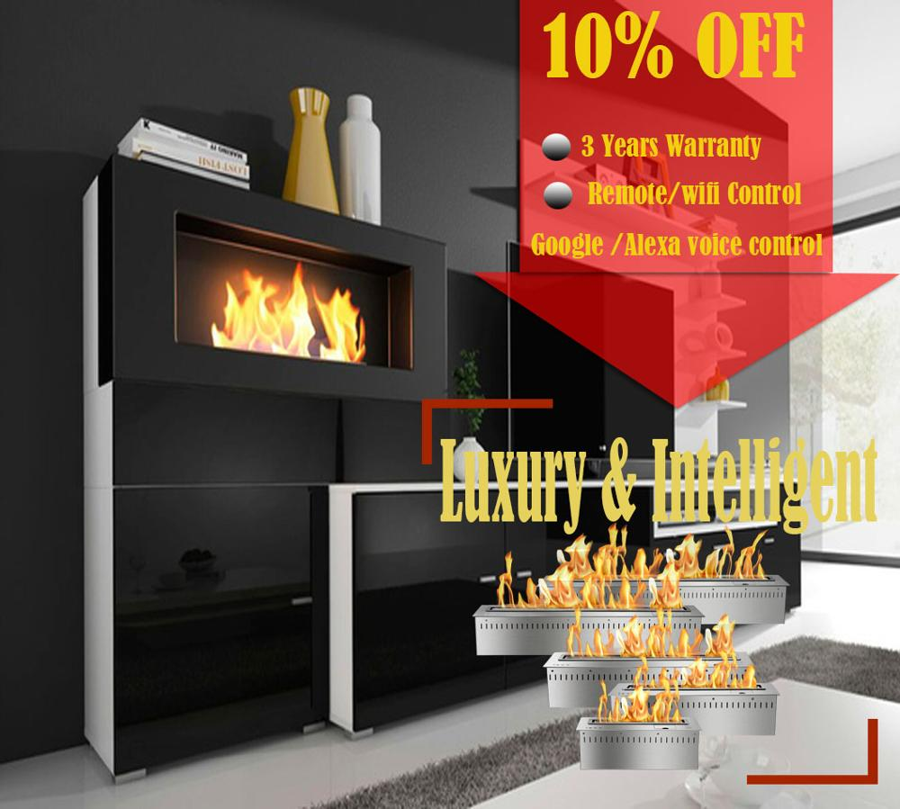 On Sale  18'' Silver Or Black Real Fire Wifi Intelligent Auto Bioethanol Fireplaces