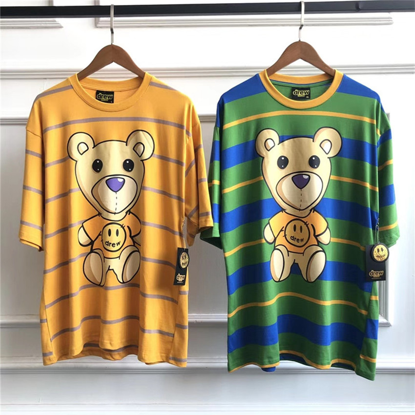 Summer Style The Drew House Drew Bear Printed Women Men Striped T Shirts Oversized Men Hiphop Casual Streetwear Cotton T Shirt