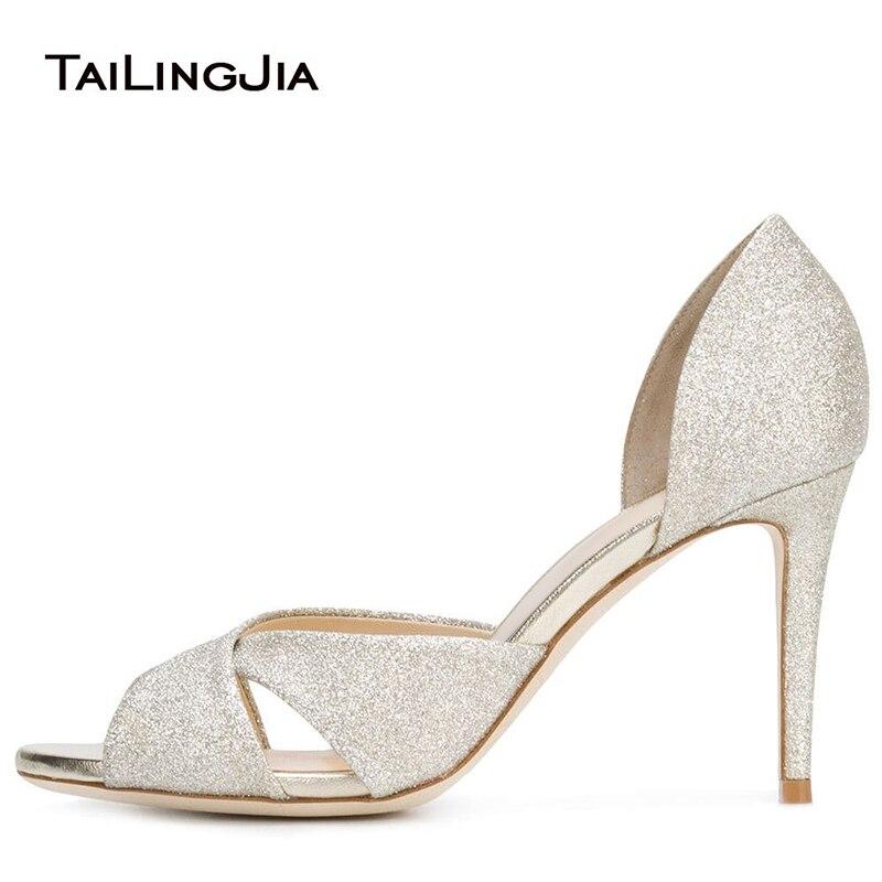 Zapatos de tacón alto para mujer zapatos de boda con puntera para mujer Zapatos de tacón blanco con purpurina 2019 elegantes zapatos de novia con tacón de aguja para mujer