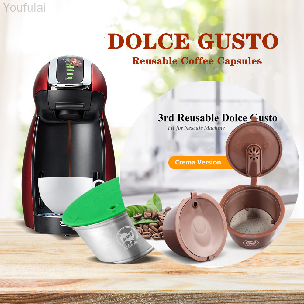 Updated Reusable Coffee Capsule Dolce Gusto Plastic Crema Capsule Refillable Compatible with Nescafe Espresso Coffee Filters