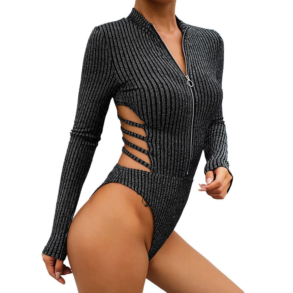 Womens Bottoming Long Sleeve Slim Sexy Bodysuit One Piece Sexy Costumes Female Black Backless Bandage Jumpsuit For 2019 Fashion