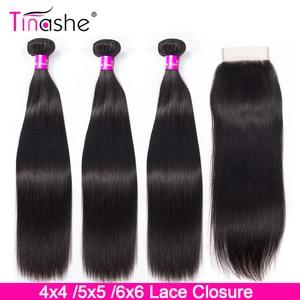 Tinashe Brazilian Straight Hair Bundles With Closure 4x4 5x5 6x6 Lace Closure 28 30 inch Remy Human Hair 3 Bundles With Closure