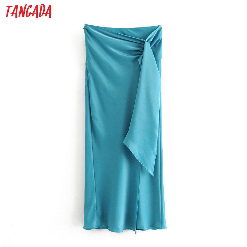 Tangada Women Blue Pleated Midi Skirt Faldas Mujer Vintage Side Zipper Ladies Elegant Chic Mid Calf Skirts 6A132