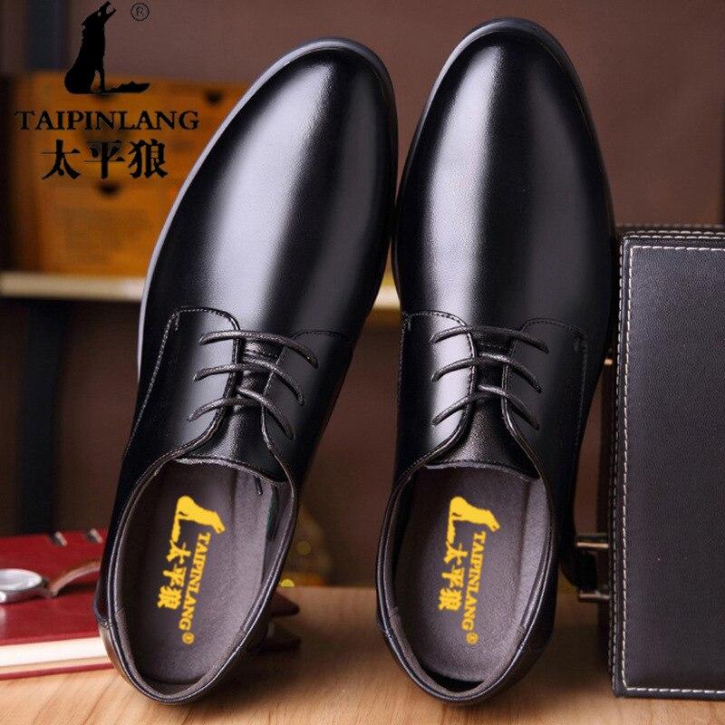 2019 New Fashion Business Dress Men Shoes Classic Leather Men'S Suits Shoes Fashion Lace-up Dress Shoes Men Oxfords