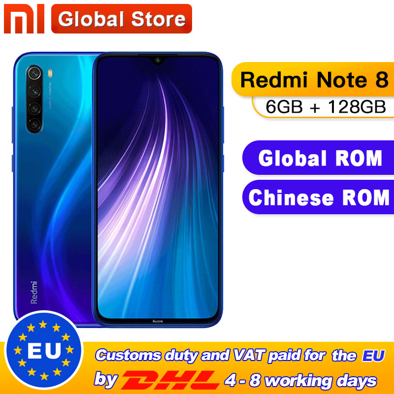 Global ROM Xiaomi Redmi Note 8 6GB 128GB Snapdragon 665 Octa Core Smartphone 4000mAh 48MP Quad Rear Camera 6.3""