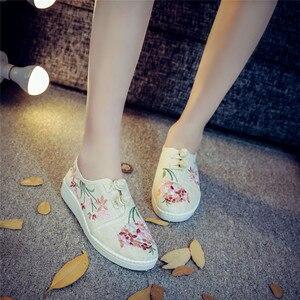 Image 1 - חדש פרחים סיני ישן פקין אביב נעלי נשים מזדמן קנבוס כותנה פרח רקמת מקדחה נעלי גודל 34 43