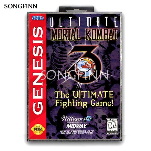 16 бит MD карта памяти с коробкой для Sega Mega Drive для Genesis Megadrive   Ultimate Mortal Kombat 3