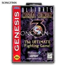 Cartão de memória md 16 bits, com caixa para sega mega drive para genesis megadrive ultimate mortal combat 3