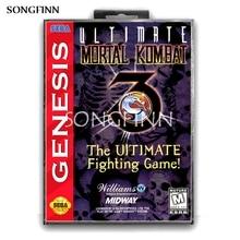 Carte mémoire MD 16 bits avec boîte pour Sega Mega Drive pour Genesis Megadrive ultime mortel Kombat 3