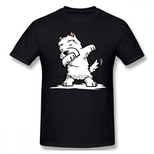 Westie T-Shirt drôle Dabbing West Highland blanc Terrier chien T-Shirt homme manches courtes T-Shirt plage amusant grande taille T-Shirt(China)