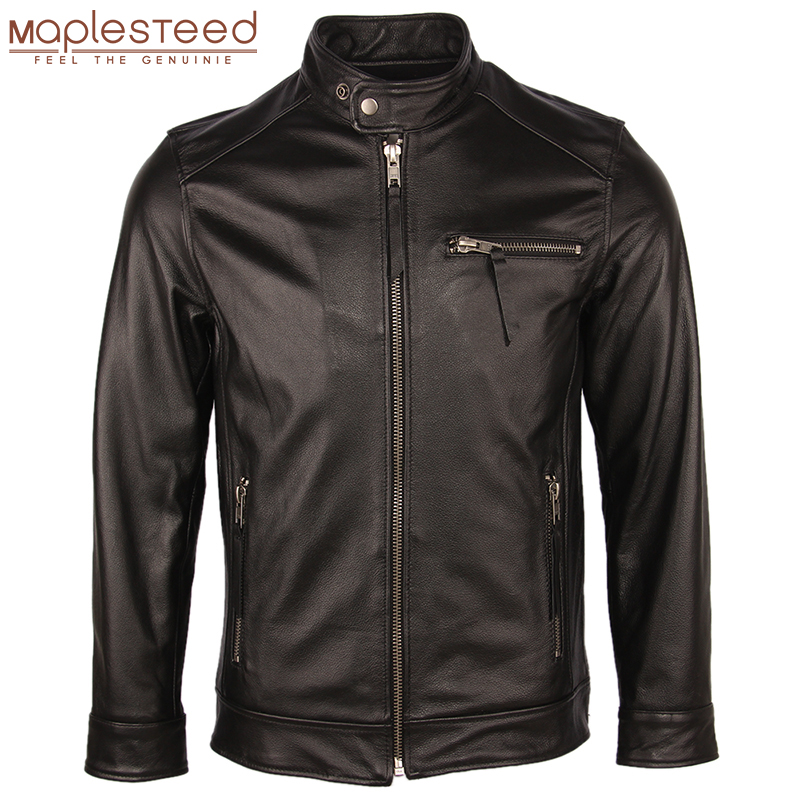 Autumn Leather Jacket Men Leather Coat Vintage Distressed 100% Cow Skin Real Leather Jackets Male Winter Coat Clothing M089
