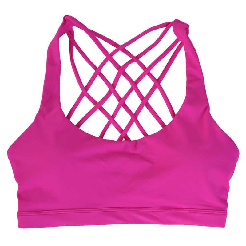 Sutiã fitness acolchoado feminino, top curto liso com costas cruzadas para ioga, corrida, academia, treino, roupa íntima feminino