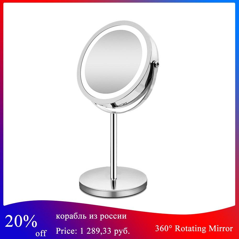 360 degrés miroir de bain rotatif professionnel 10x grossissement miroir de maquillage réglable 7 pouces Double face miroir cosmétique
