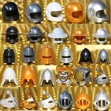 5 шт. средневековый замок Рыцари фигурки шлем, блоки римский солдат Спартак воин Дракон кавалерия корона король шляпа MOC блоки игрушки