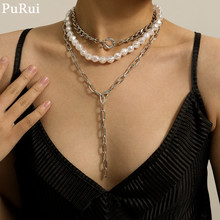 Purui Boho Imitation Pearl Choker Necklace Vintage Layered Chian Tassel Pedant for Homen Fashion Jewelry Charm
