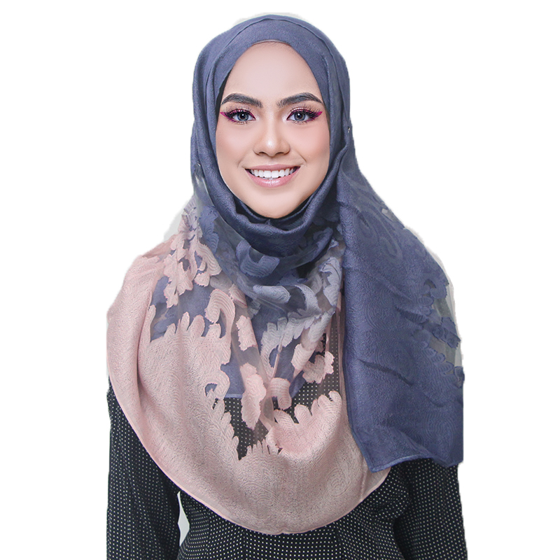 2019 Women Fashion Gradient Color Scarves Shawls Female Wraps Hollow Pashmina Embroidery Lace Plaid Embroidery Hijab Scarf