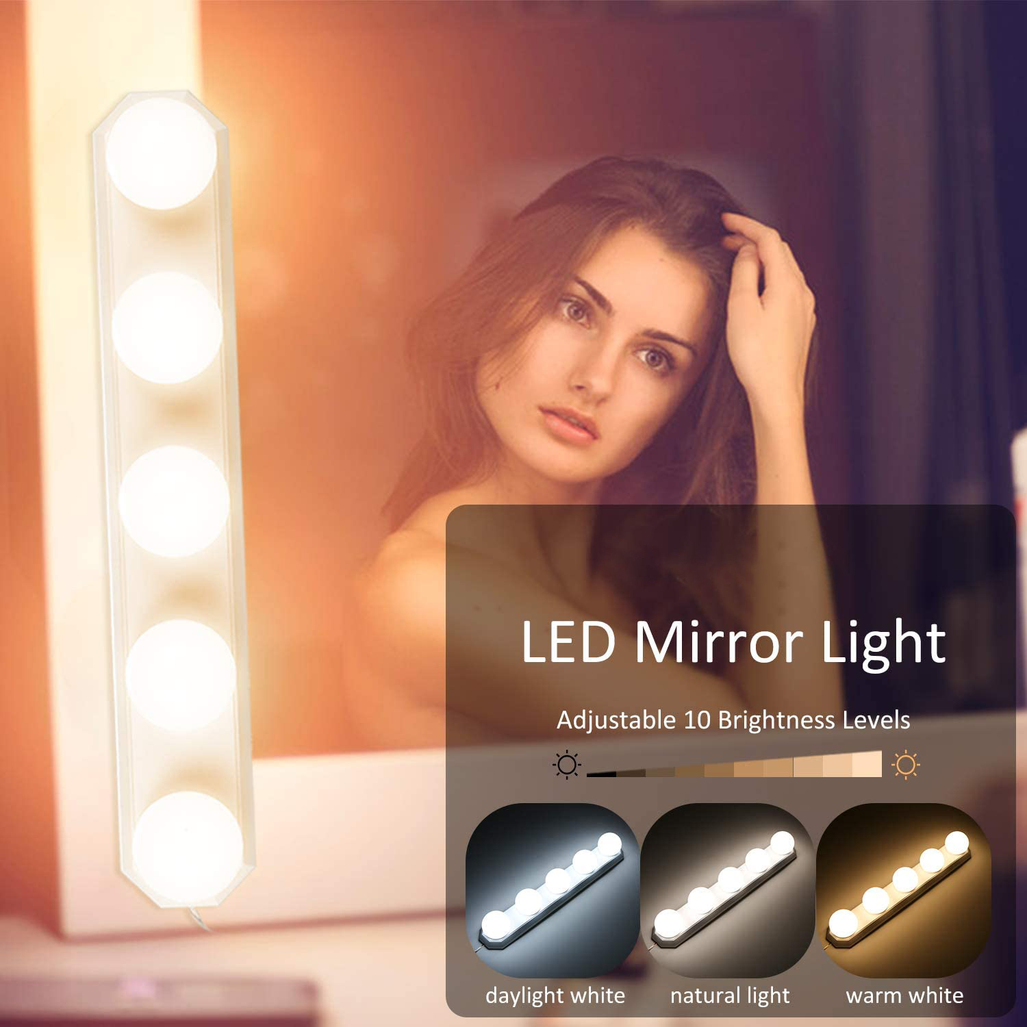 Vanity Strip Dimmable LED Bulb 3 Color Modes 5 Lamps Hollywood Style Mirror Fixture USB Power Makeup Dressing Light for Bathroom
