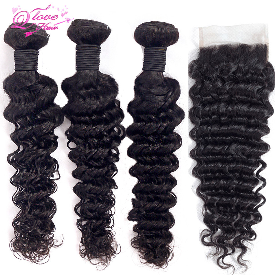 Queen Love Hair Deep Wave Bundles With Closure Brazilian Hair Weave Bundles With Closure Non Remy Hair Extension 4*4Lace Closure
