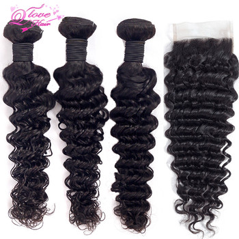 Queen Love Hair Deep Wave Bundles With Closure Brazilian Hair Weave Bundles With Closure Remy Hair Extension 4x4Lace Closure