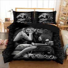 Sexy Marilyn Monroe Bedding sets 3D Skull Motorcycle Duvet Cover pillowcase 3pcs Twin queen king size Black bedclothes