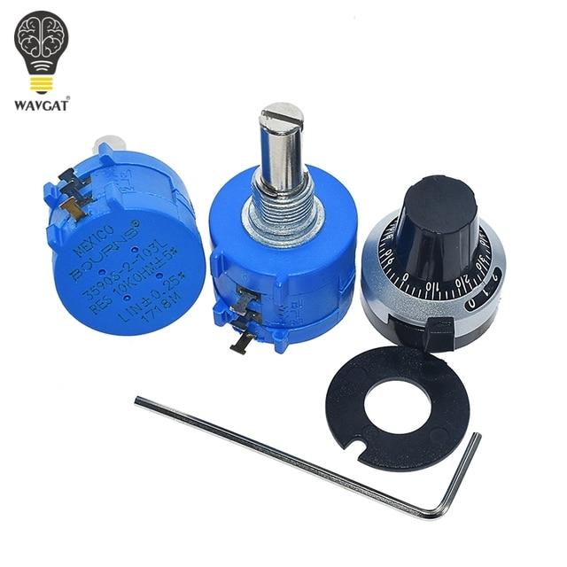 WAVGAT 3590S Multiturn Potentiometer 500 1K 2K 5K 10K 20K 50K 100K ohm Potentiometer Adjustable Resistor 3590 102 202 502 103 5