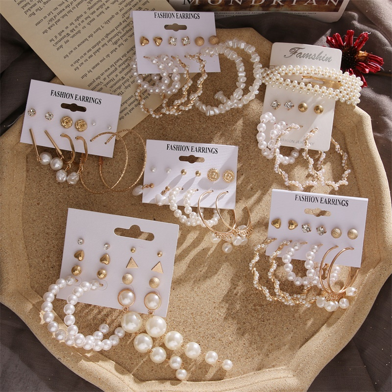 IPARAM Fashion Imitation Pearl Brinco Earring Set For Women's Vintage Golden Hair Clip Pearl Dangle Earrings Boho Gift Set