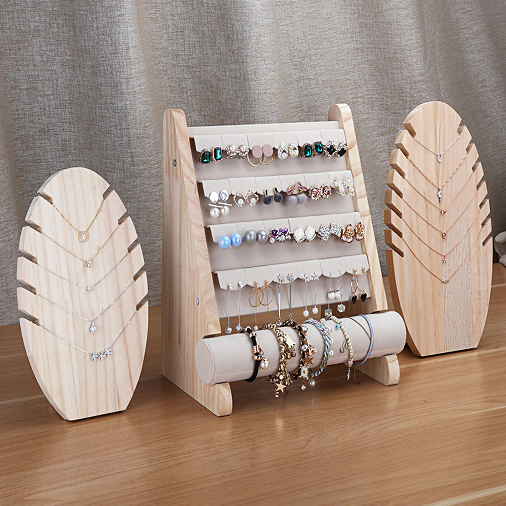 Wood Earring Display Stand Earrings Holder Showcase T-Bar Bracelet Holder title=