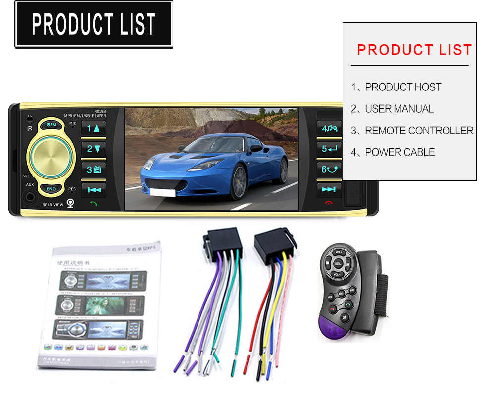 1 autoradio Din lecteur 4.1 pouces Audio stéréo Bluetooth USB AUX FM Station avec vue arrière caméra télécommande mains libres