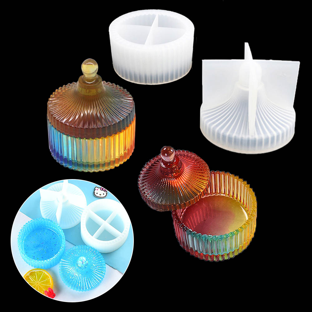 Round Stripe Storage Jewelry Box DIY Crystal Epoxy Resin Mold Silicone Storage Box Mold Jewelry Making Tools