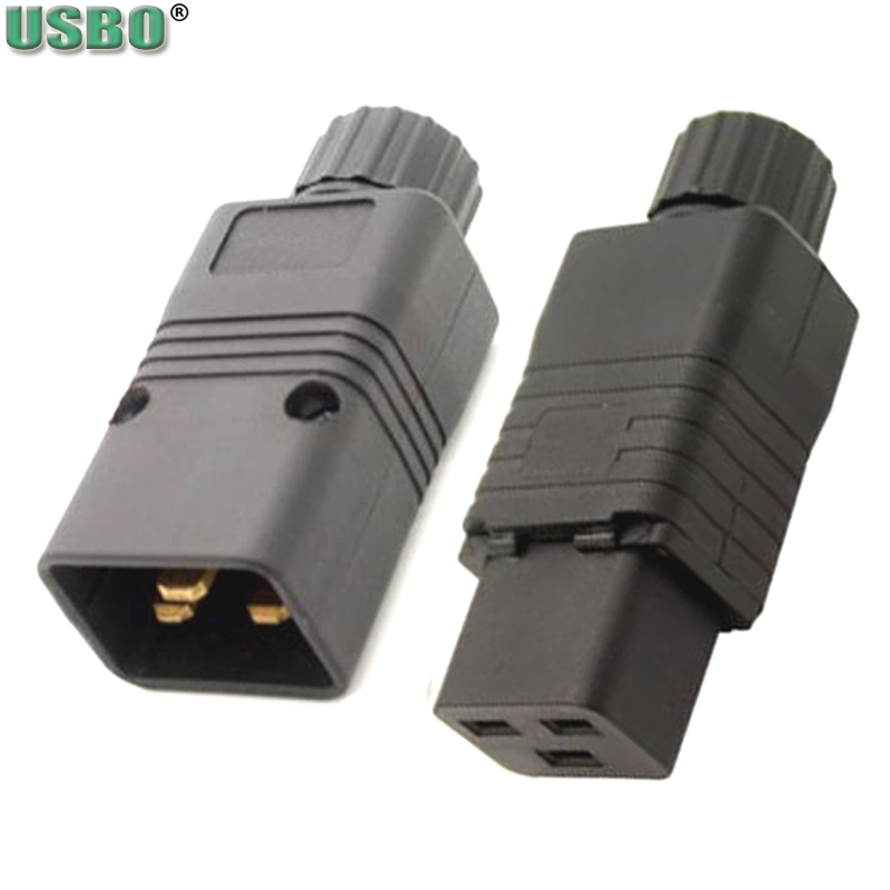 Female Male 16A 250V CE Copper IEC320 C19 C20 PDU UPS Power Receptacle Outlet AC Electrical Cord Connector Removable plug socket