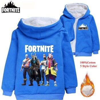Fortnite Clothes Outerwear Baby Boy Autumn Girls Winter Coat Windbreaker Warm Fashion Kids Jacket Print Hooded