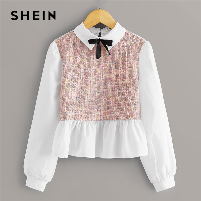 SHEIN Kiddie Girls Colorblock Tweed Insert Preppy Peplum Blouse Kids Tops 2020 Spring Bow Front Bishop Sleeve Ruffle Hem Blouses