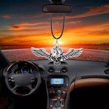 Auto Ornamente Auto Anhänger Ghost Rider Fly Flügel Schädel Innen Rückspiegel Dekoration Hängen Dekor Hip-Hop Auto Zubehör