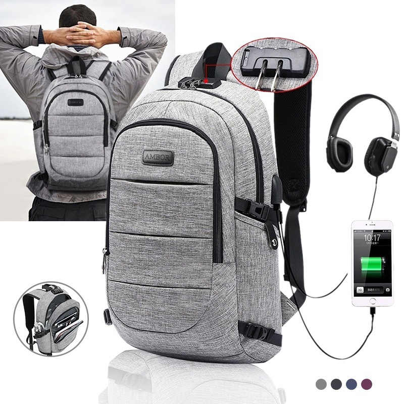 2019 New Fashion Casual Oxford Backpack Male Waterproof Laptop Backpacks Men Women Travel With USB Charging Anti theft Backpack