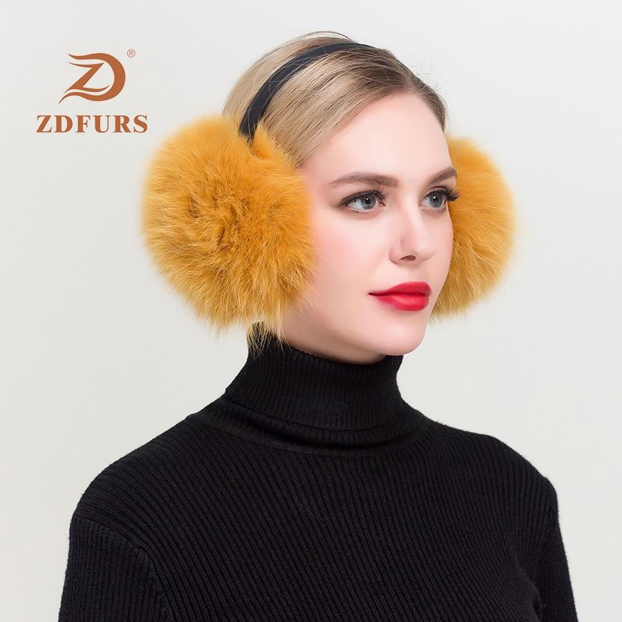 ZDFURS* Winter Women Warm Real Fox  Earmuffs Girl's Earlap Ultralarge Imitation Ladie's Plush Ear Muff