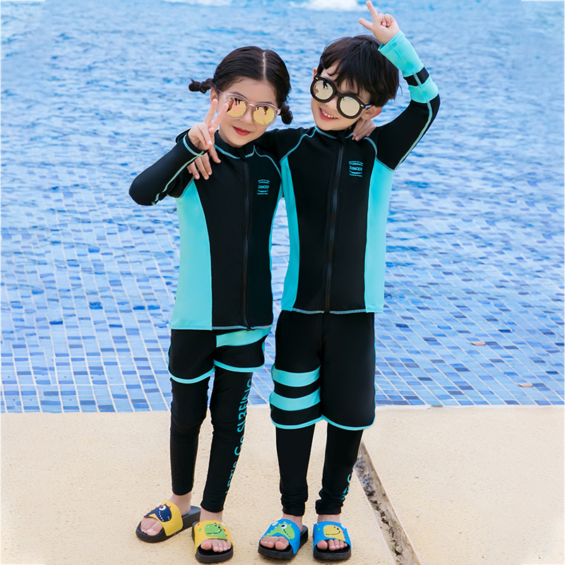 2019 South Korea Children Sun-resistant Swimming Suit Long Sleeve Snorkeling Suit Girls BOY'S Split Type Big Boy Swimwear Diving