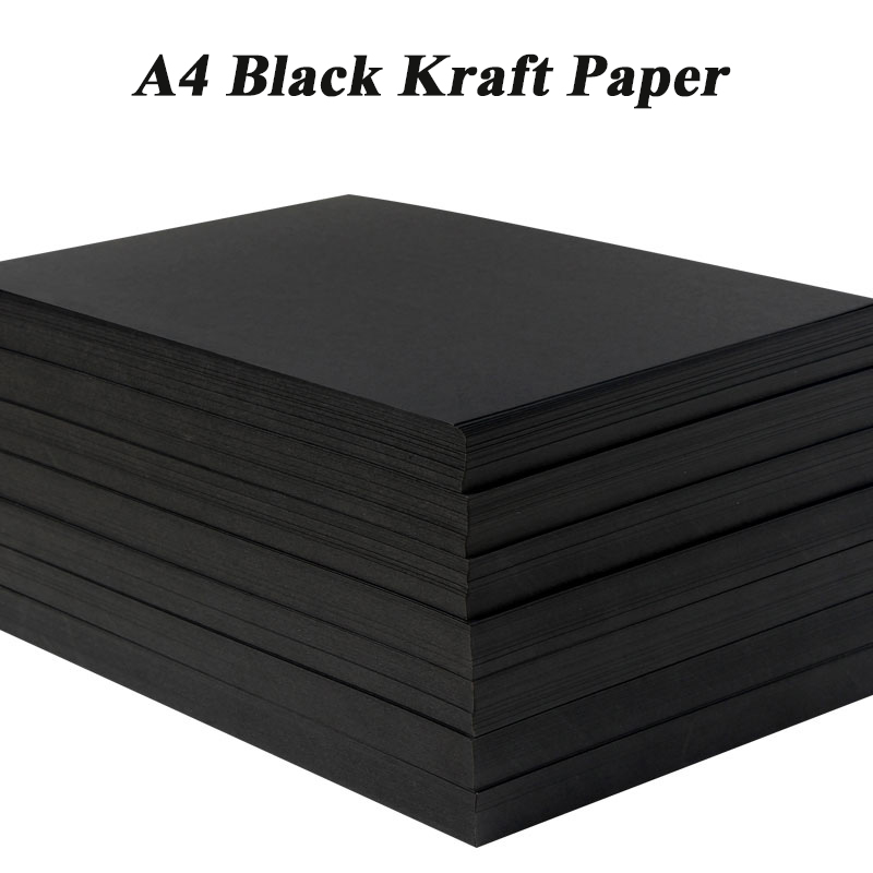 A4 Black Kraft Paper DIY Handmake Card Making Craft Paper Thick Paperboard Cardboard 180g 230g 300g 400g 20/50pcs High Quality