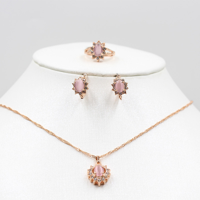 Rose gold opal necklace earrings ring jewelry set bride 585 gold necklace earrings ring fashion women's holiday party crystal ta