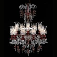 Современная декоративная хрустальная люстра, люстры для гостиной, красные прозрачные подвески и люстры, домашнее освещение, внутреннее освещение