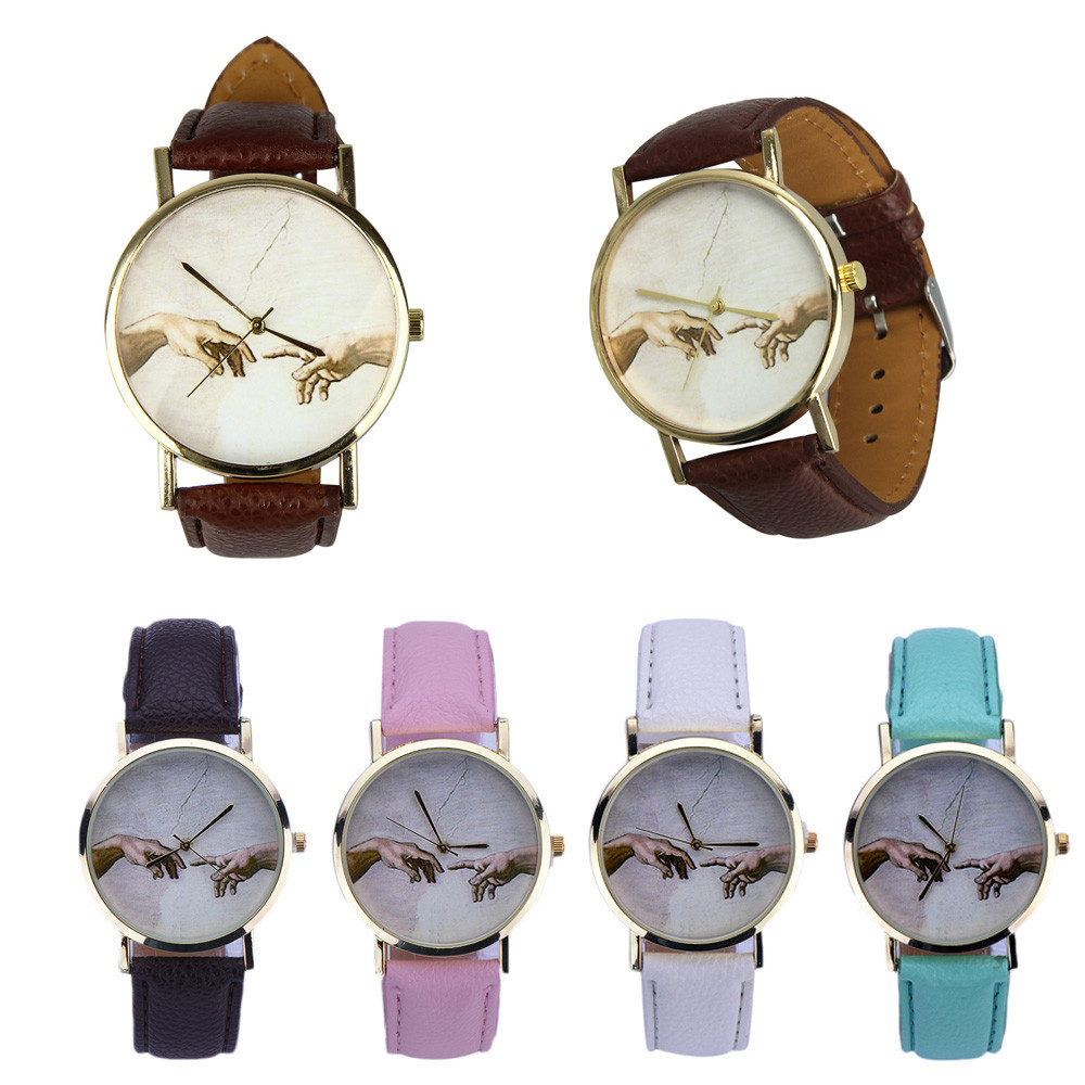 Classic Art Dial Women Watches Fashion Analog Quartz Wristwatch Specially Designed With Metal Case And Faux Leather Band Ladies@