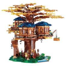 Grande árvore casa folhas modelo blocos de construção tijolos com figuras crianças brinquedos educativos diy presente aniversário