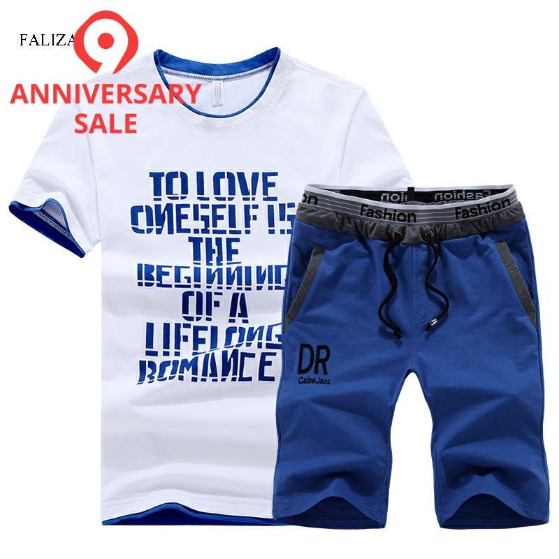 FALIZA New Summer T-Shirt Set Men Cotton Casual Outwear Hot Sale Tracksuits Hip Hop Brand Clothing T Shirt Set Men 2 Pieces,S102