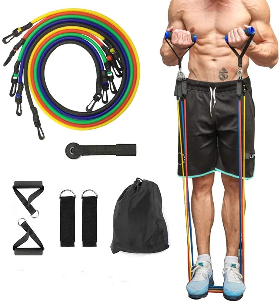 11pcs/set Pull Rope Fitness Exercises Resistance Bands Latex Tubes Pedal Excerci