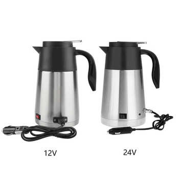 12V 24V Electric Kettle 1300ml Stainless Steel Car Truck Travel Coffee Tea Water Boiler Pot dmwd 750ml car heating cup auto 12v 24v stainless steel electric kettle travel heated coffee hot water boiling thermal heater