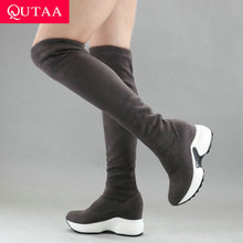 Women Shoes Wedges Long-Boots Stretch-Fabrics Autumn Winter Fur Over-The-Knee QUTAA Round-Toe
