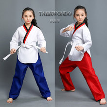 Child Cotton Kyokushin Karate Uniform Breathable WTF Approved Clothing Girls RED BLUE Taekwondo Dobok Training Clothes With Belt mooto wtf dobok taekwondo uniform kukkiwon korea taekwondo dobok with special fabric cooton black v neck